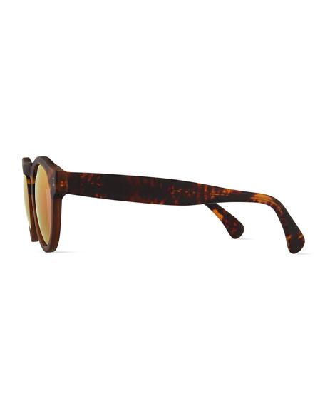 Leonard Mirror Round Sunglasses, Havana