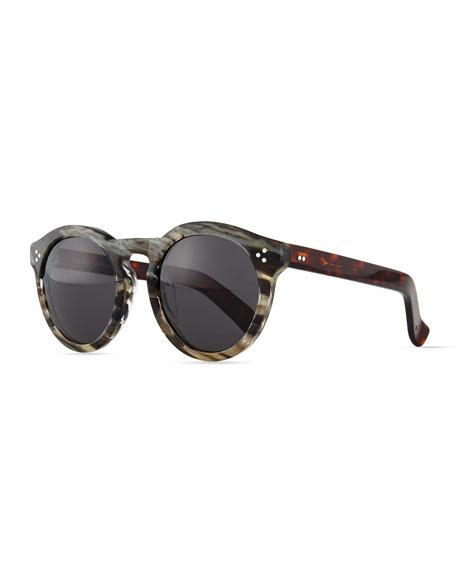 Leonard II Round Sunglasses, Gray/White