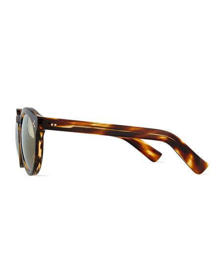 Leonard II Round Mirror Sunglasses, Havana