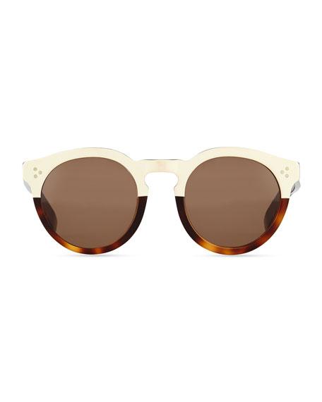 Leonard II Round Sunglasses, White/Havana