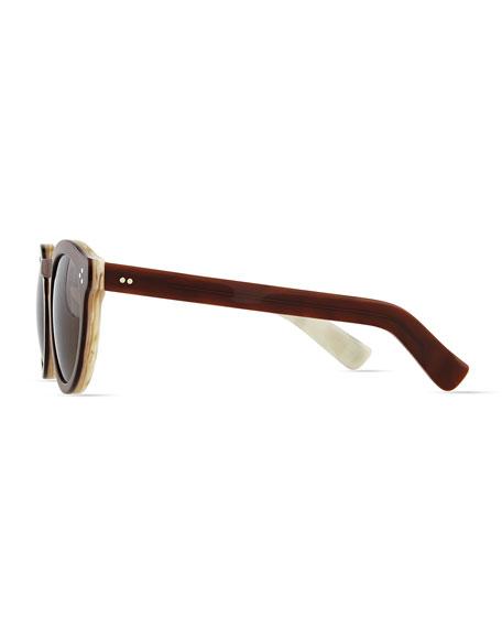Leonard II Round Sunglasses, Brown/Ivory Havana