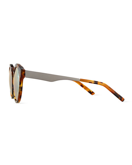 Toohey Mirrored Round Sunglasses, Light Havana/Gunmetal