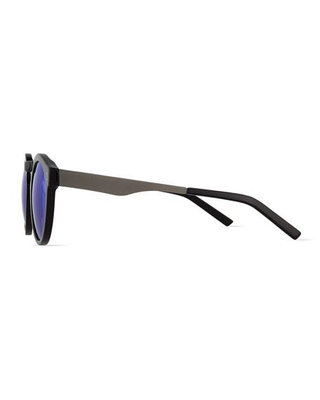 Toohey Mirrored Round Sunglasses, Black/Gunmetal