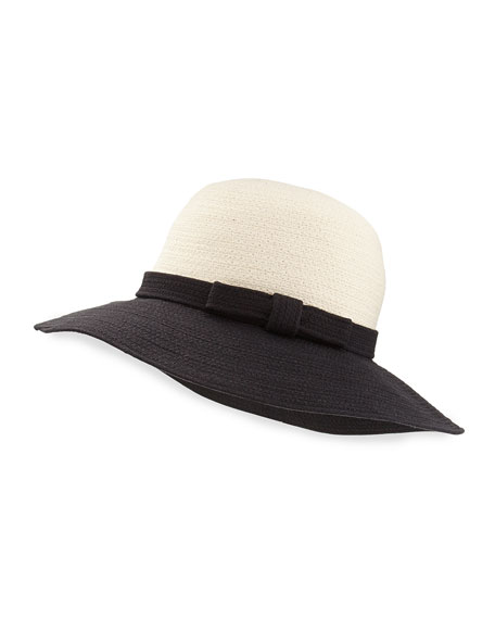 webbing colorblock sun hat, black/white