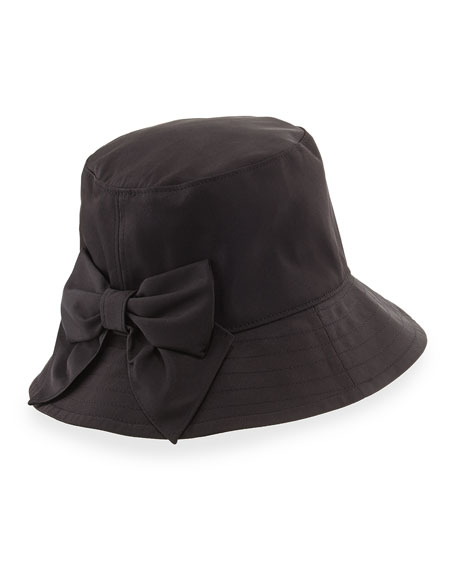 bow-back bucket hat, black