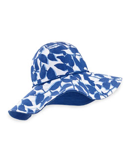 floral-print reversible garden hat, hyacinth