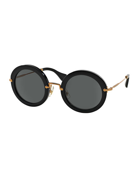 Miu Miu Round Acetate Sunglasses, Black