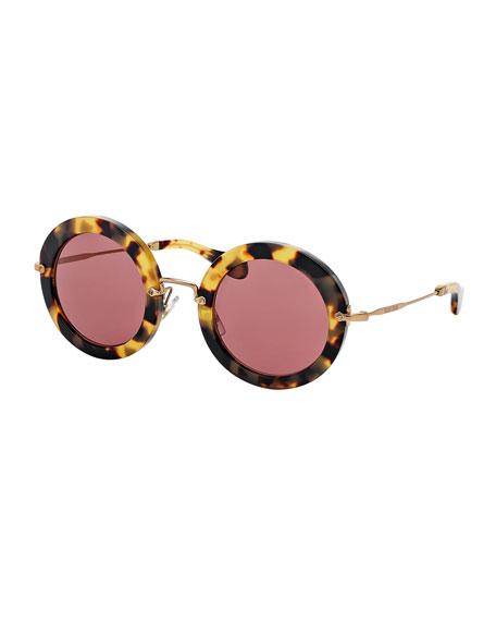 Miu Miu Round Acetate Sunglasses, Tortoise