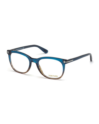 Round Colorblock Fashion Glasses, Blue/Brown