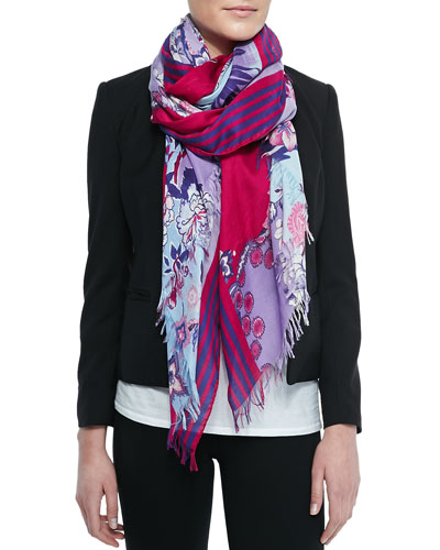 Floral-Print Scarf with Fringe, Blue/Pink