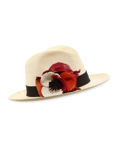 Straw Hat w/Floral Applique