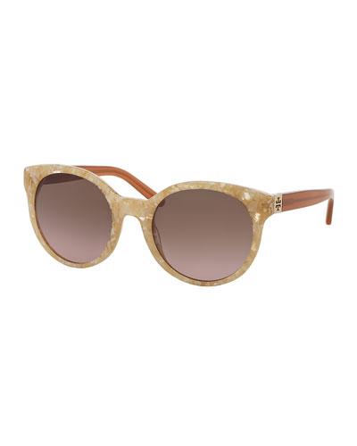 Round Colorblock Sunglasses, Blonde