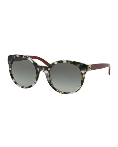 Round Colorblock Sunglasses, Gray Tortoise