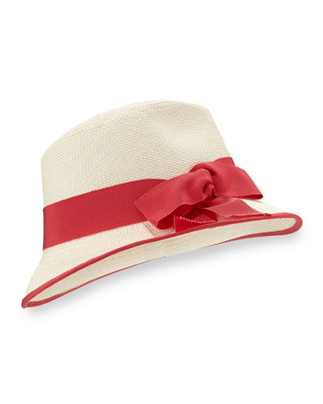 Straw Panama Hat, Natural/Pink