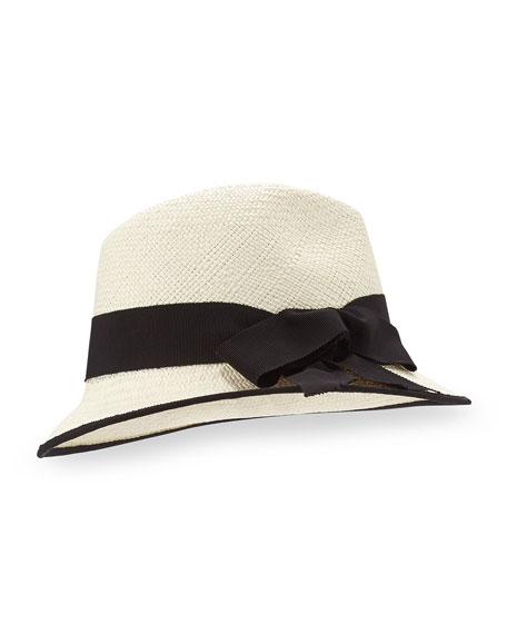 Straw Panama Hat, Natural/Black