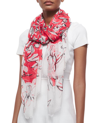 Floral-Print Modal/Cashmere Scarf, Granita