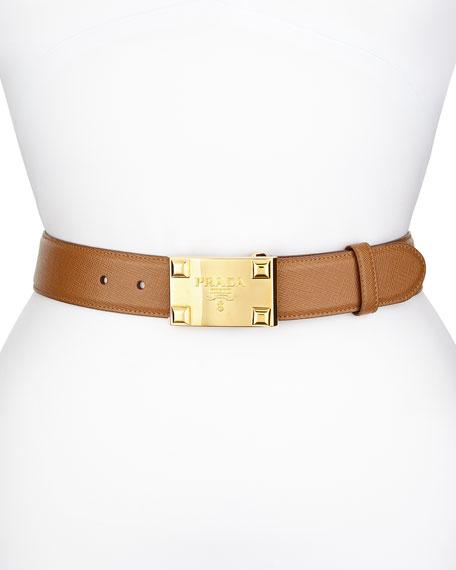 Prada Saffiano Logo Buckle Belt, Caramel