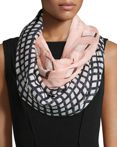 Mix Plaid Infinity Scarf, Pink