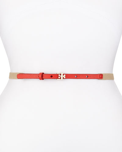 Split Stretch Skinny Belt, Red