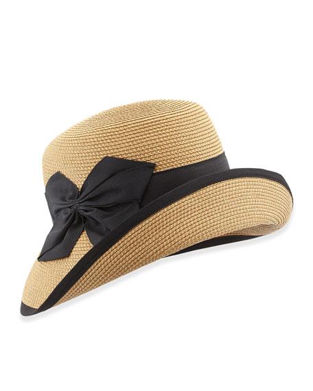 Gwyn Cloche Hat, Natural/Black