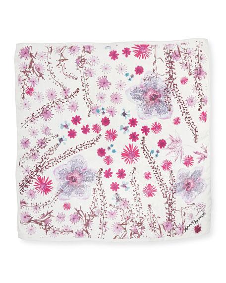 Pressed Flower Print Silk Scarf, Rose
