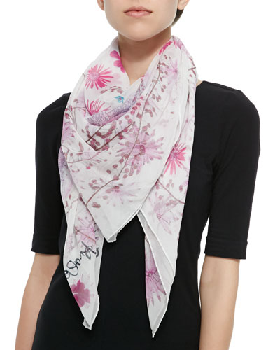 Pressed Flower Print Silk Scarf, Rose