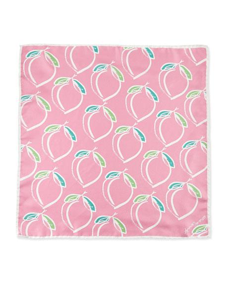 Peach-Print Silk Square Scarf