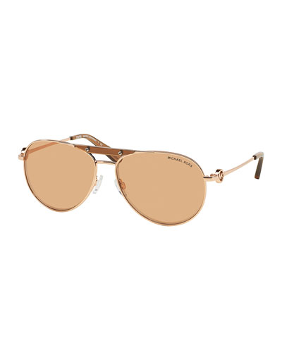 Zanzibar Flash-Lens Aviator Sunglasses, Rose Golden