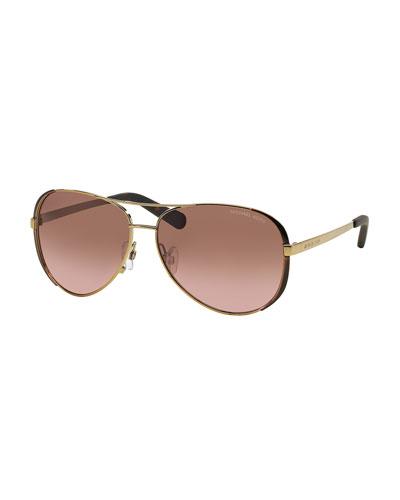 31b1c823d431 Michael Kors Chelsea Soft Touch Aviator Sunglasses, Golden Order ...