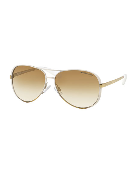 Michael Kors Chelsea Soft Touch Aviator Sunglasses, White