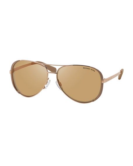 Michael Kors Chelsea Soft Touch Aviator Sunglasses, Taupe