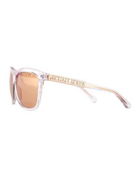 39077703dc57 Michael Kors Benidorm Square Flash Sunglasses, Crystal/Rose Gold