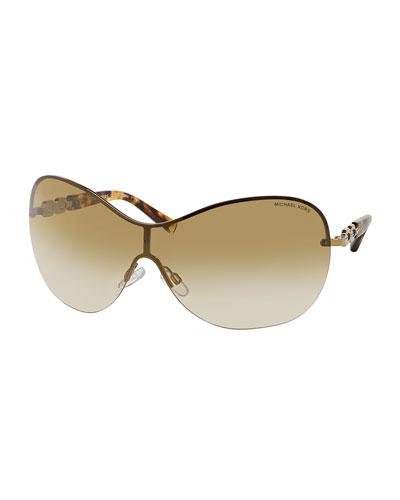 6ed3a444f1e6 Michael Kors Chain Link Shield Sunglasses, Golden Order Now ...