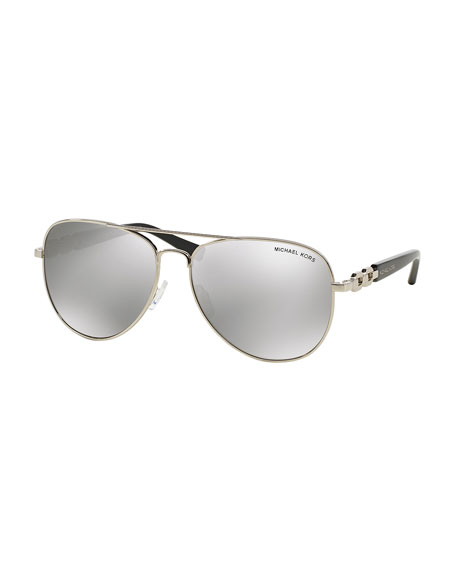 Michael Kors Mirrored Sunglasses  michael kors chain link aviator sunglasses silver mirror