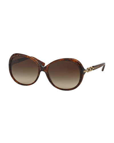 Chain Link Butterfly Sunglasses, Brown