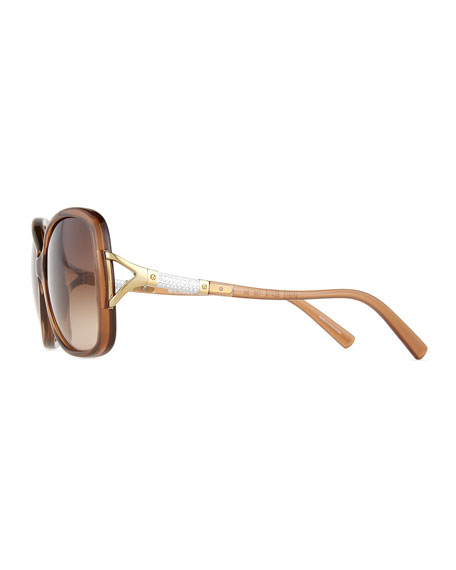 Rhinestone Pave Butterfly Sunglasses, Brown
