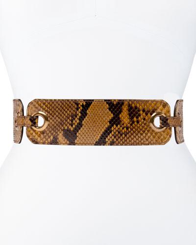 Eyelet Belt in Beige Python