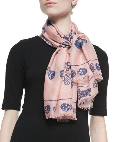 Alexander McQueen Floral Geisha Skull-Print Scarf, Pink/Blue