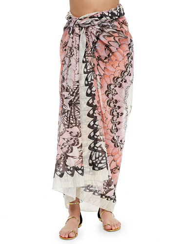 Rainbow Wings Convertible Pareo, Pink/Ivory