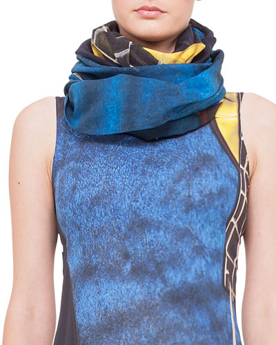 Guitar-Print Cotton/Cashmere Scarf