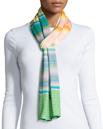 Striped Knit Scarf, Multicolor