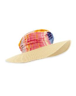 Striped Wide-Brim Hat, Red/Multi