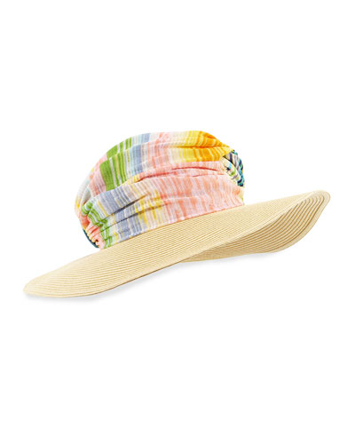 Striped Wide-Brim Hat, Blue/Multi