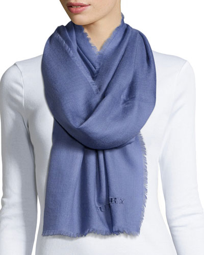 Embroidered Lightweight Cashmere Scarf, Lupine