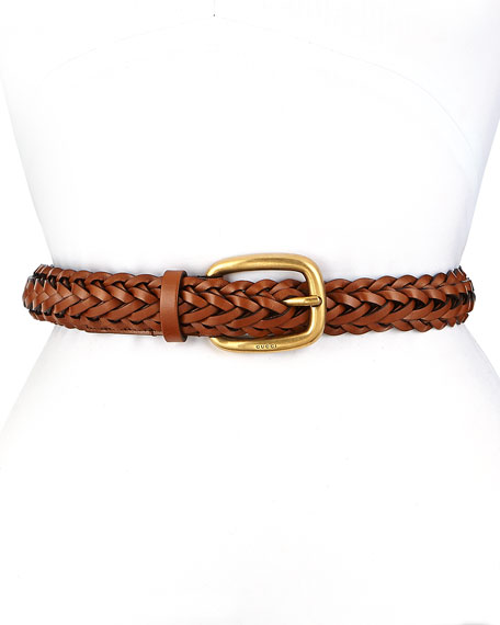 Gucci Square Buckle Braided Belt, Brown