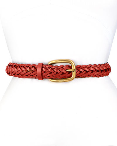 Square Buckle Braided Belt, Red
