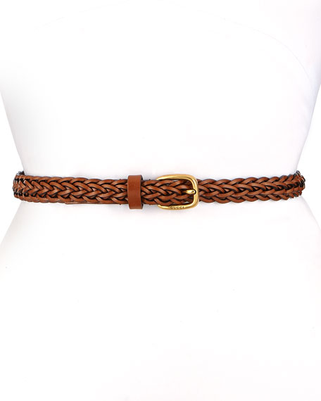 Gucci Square Buckle Skinny Braided Belt, Brown