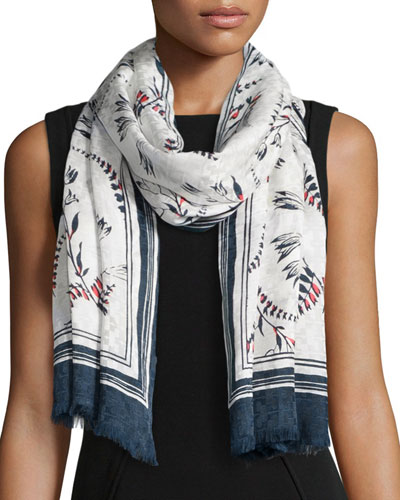 Floral-Print Jacquard Scarf, Navy