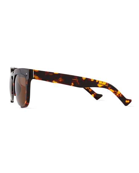Temple Cutoff Square Sunglasses, Tortoise