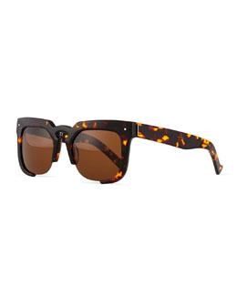 Temple Cutoff Square Sunglasses, Tortoise